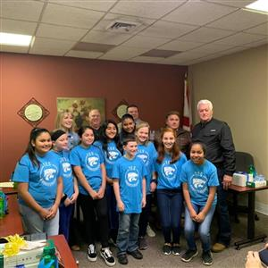 TES Student Ambassadors pictured with Superintendent and Board Members