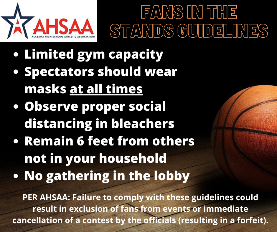 AHSAA Guidelines for Fans in the Stands (Basketball 2020)